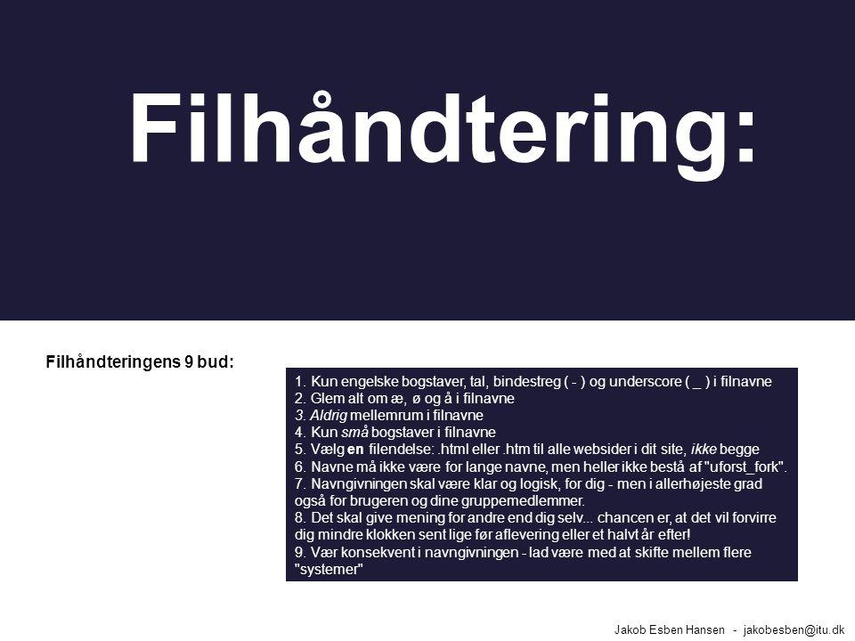 Filhåndteringens 9 bud: Jakob Esben Hansen - jakobesben@itu.dk Filhåndtering: 1.