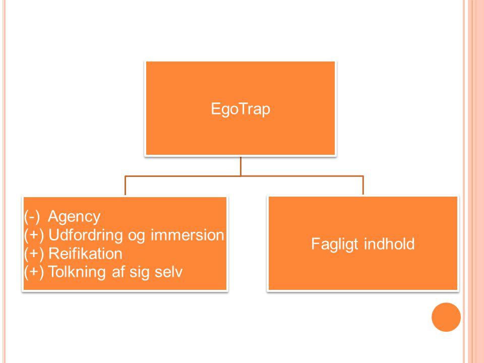 EgoTrap (-) Agency (+) Udfordring og immersion (+) Reifikation (+) Tolkning af sig selv Fagligt indhold
