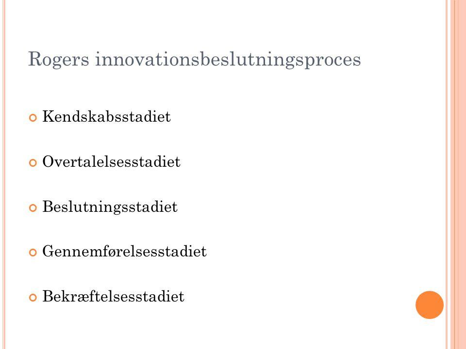 Rogers innovationsbeslutningsproces Kendskabsstadiet Overtalelsesstadiet Beslutningsstadiet Gennemførelsesstadiet Bekræftelsesstadiet