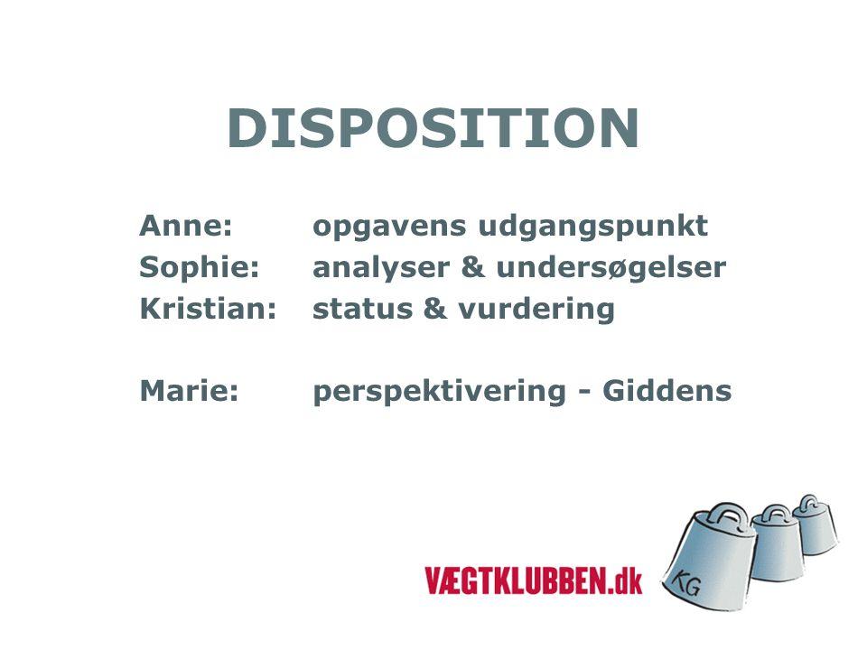 DISPOSITION Anne:opgavens udgangspunkt Sophie:analyser & undersøgelser Kristian:status & vurdering Marie:perspektivering - Giddens