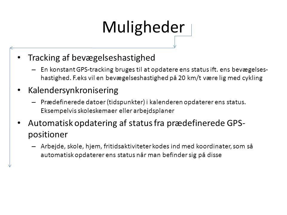 Muligheder Tracking af bevægelseshastighed – En konstant GPS-tracking bruges til at opdatere ens status ift.