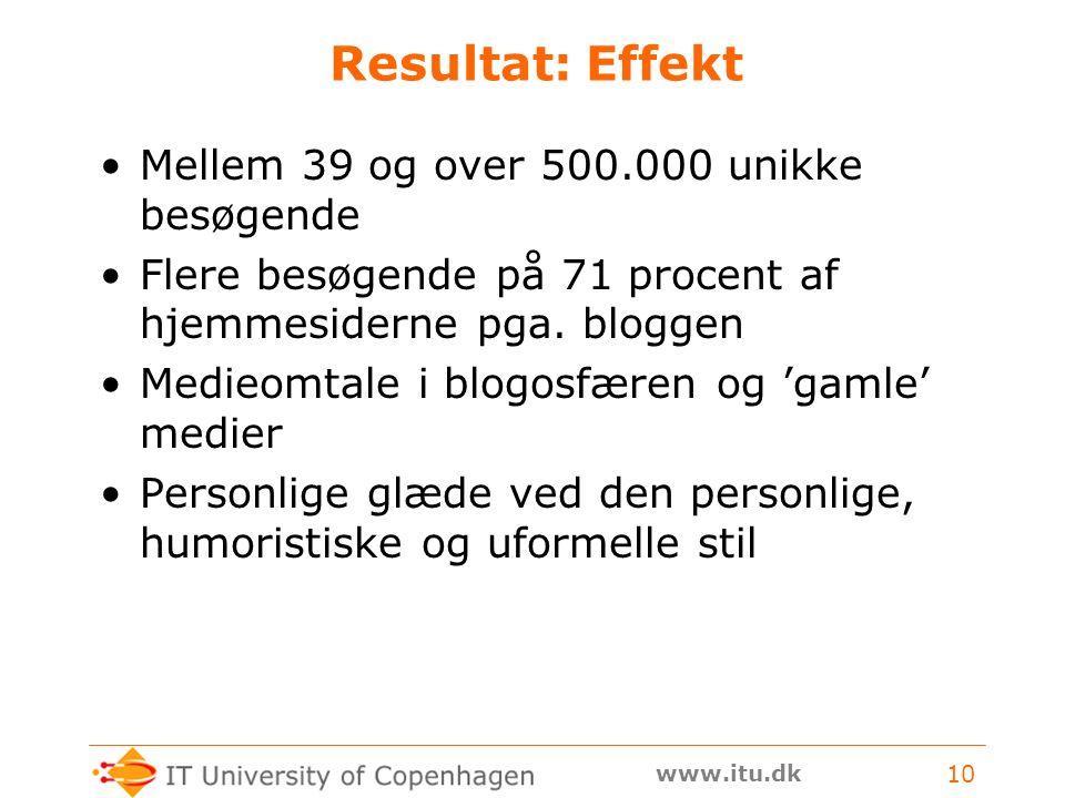 www.itu.dk 10 Resultat: Effekt Mellem 39 og over 500.000 unikke besøgende Flere besøgende på 71 procent af hjemmesiderne pga.