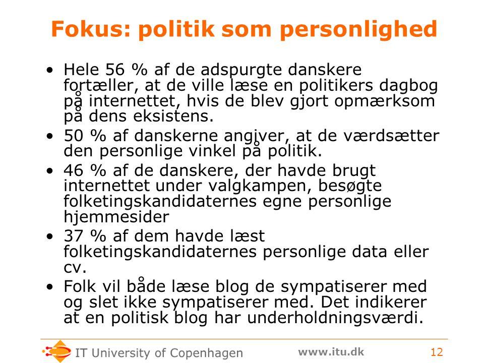 www.itu.dk 12 Fokus: politik som personlighed Hele 56 % af de adspurgte danskere fortæller, at de ville læse en politikers dagbog på internettet, hvis de blev gjort opmærksom på dens eksistens.