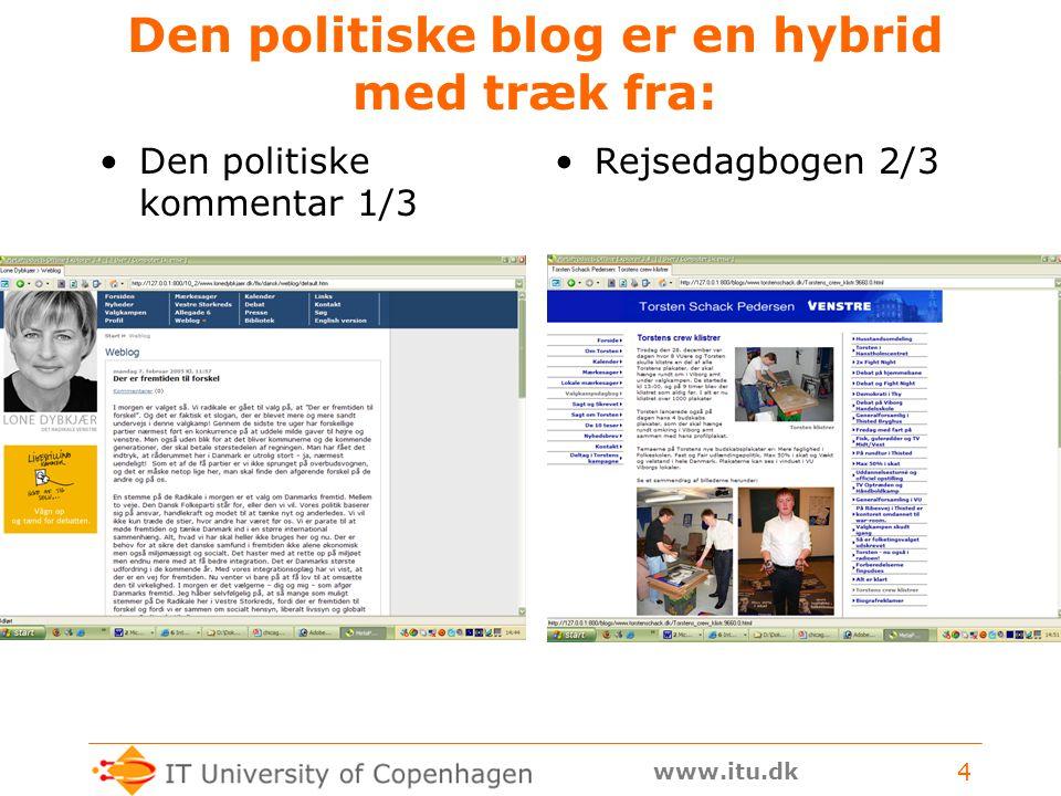 www.itu.dk 4 Den politiske blog er en hybrid med træk fra: Den politiske kommentar 1/3 Rejsedagbogen 2/3