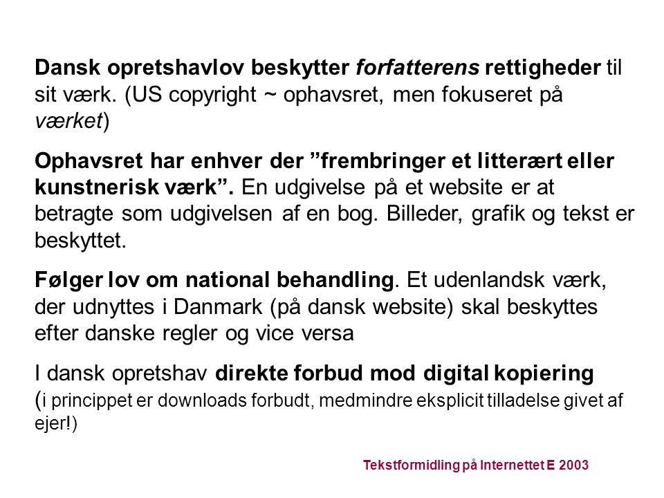 Tekstformidling på Internettet E 2003 Dansk opretshavlov beskytter forfatterens rettigheder til sit værk.