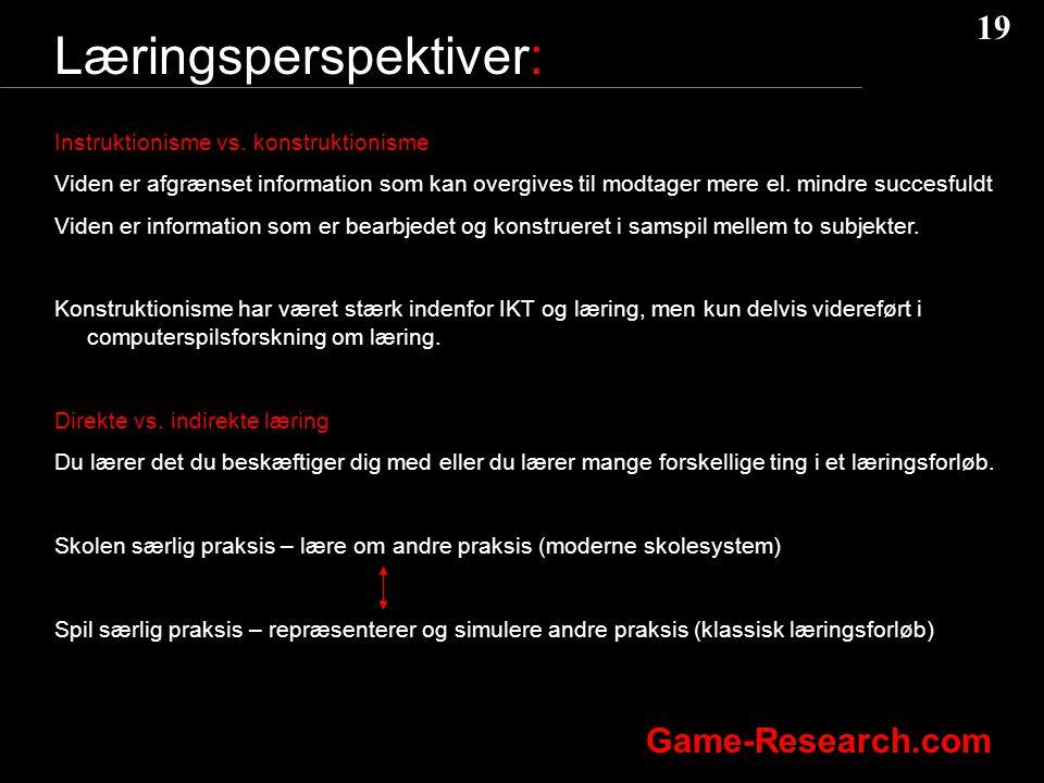 19 Game-Research.com Læringsperspektiver: Instruktionisme vs.