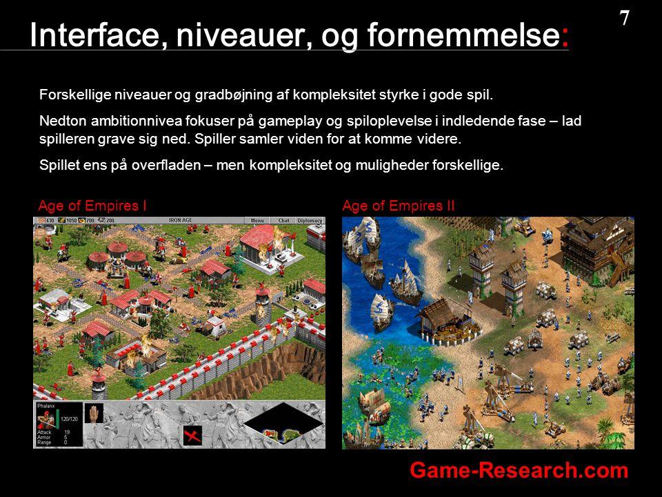 7 7 Game-Research.com Interface, niveauer, og fornemmelse: Forskellige niveauer og gradbøjning af kompleksitet styrke i gode spil.