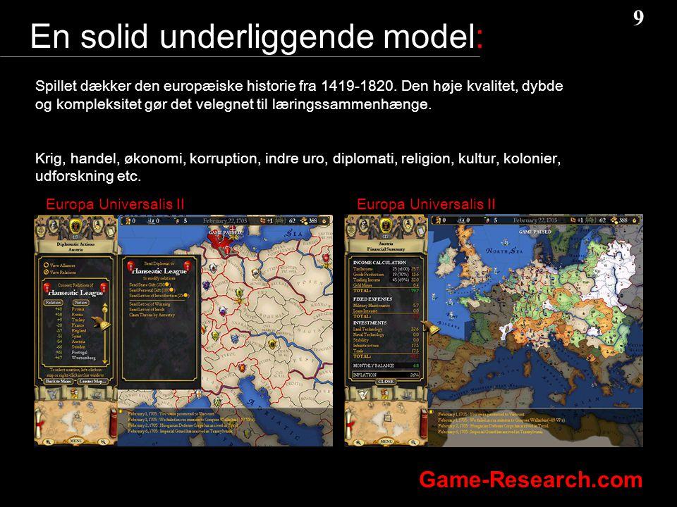 9 9 Game-Research.com En solid underliggende model: Spillet dækker den europæiske historie fra 1419-1820.