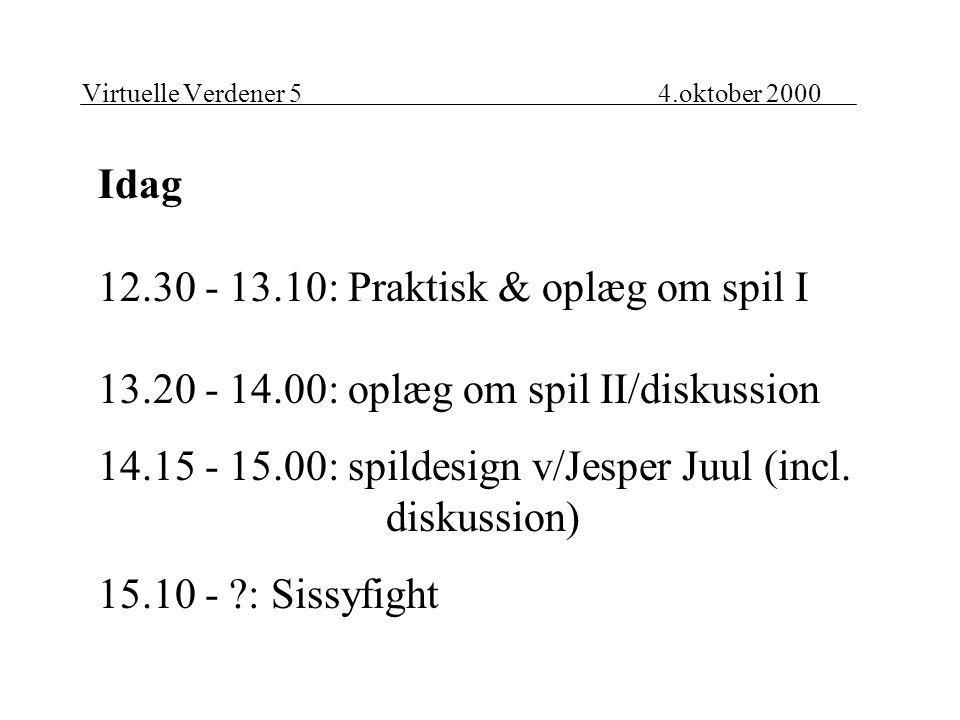 Virtuelle Verdener 54.oktober 2000 Idag 12.30 - 13.10: Praktisk & oplæg om spil I 13.20 - 14.00: oplæg om spil II/diskussion 14.15 - 15.00: spildesign v/Jesper Juul (incl.