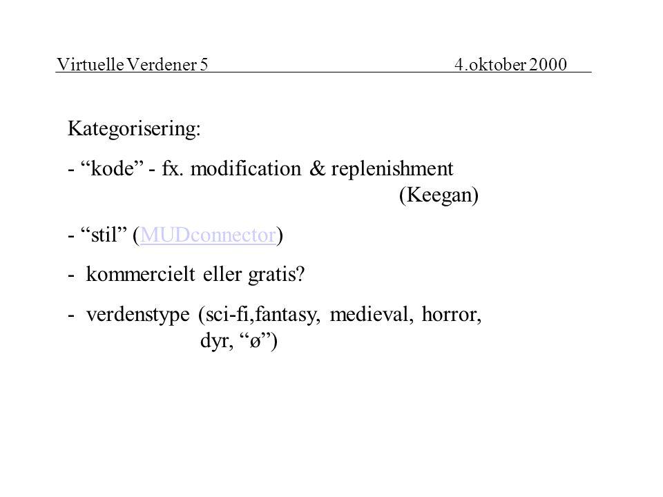 Virtuelle Verdener 54.oktober 2000 Kategorisering: - kode - fx.