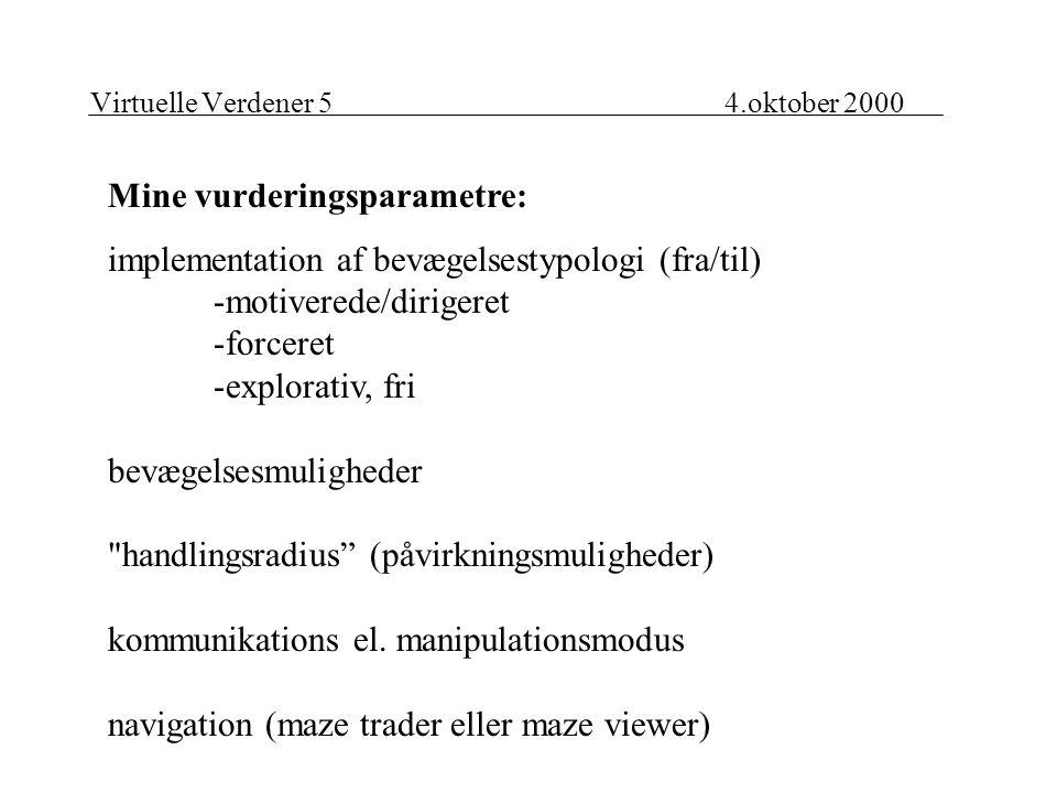 Virtuelle Verdener 54.oktober 2000 Mine vurderingsparametre: implementation af bevægelsestypologi (fra/til) -motiverede/dirigeret -forceret -explorativ, fri bevægelsesmuligheder handlingsradius (påvirkningsmuligheder) kommunikations el.