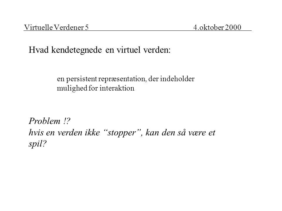 Virtuelle Verdener 54.oktober 2000 Hvad kendetegnede en virtuel verden: en persistent repræsentation, der indeholder mulighed for interaktion Problem !.