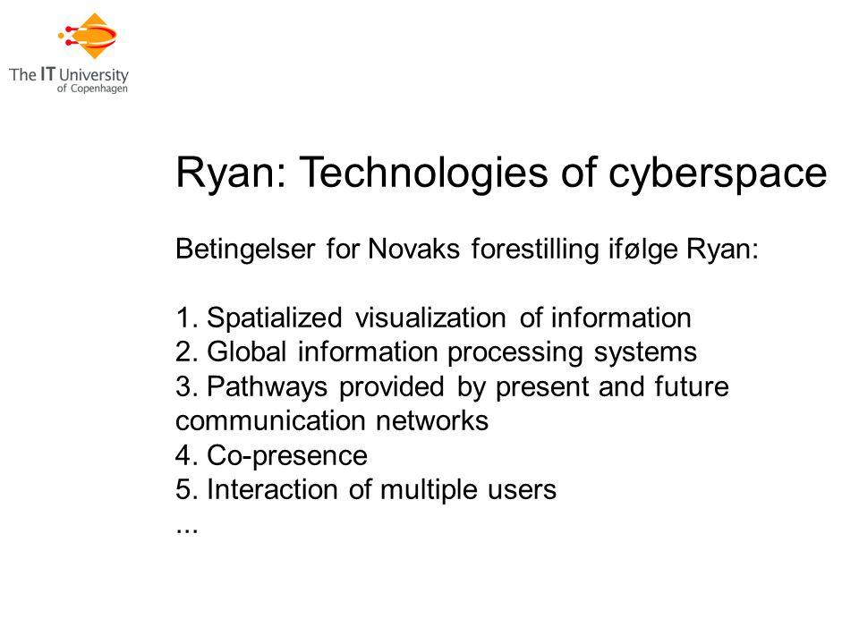 Ryan: Technologies of cyberspace Betingelser for Novaks forestilling ifølge Ryan: 1.