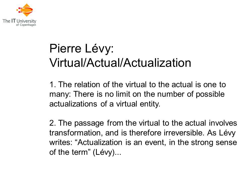 Pierre Lévy: Virtual/Actual/Actualization 1.
