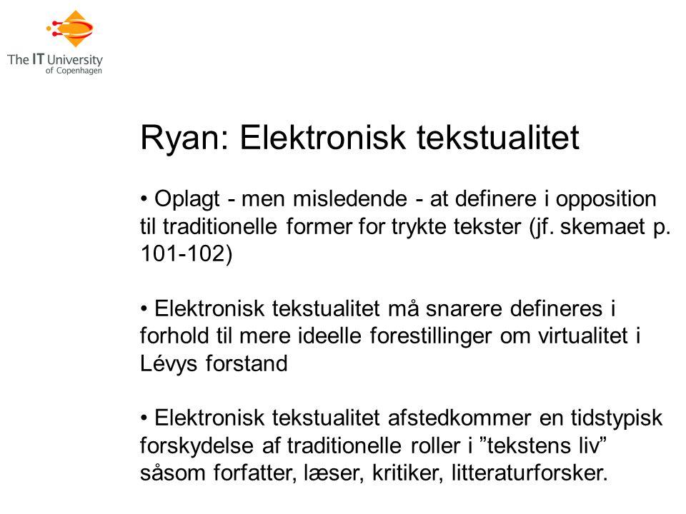 Ryan: Elektronisk tekstualitet Oplagt - men misledende - at definere i opposition til traditionelle former for trykte tekster (jf.