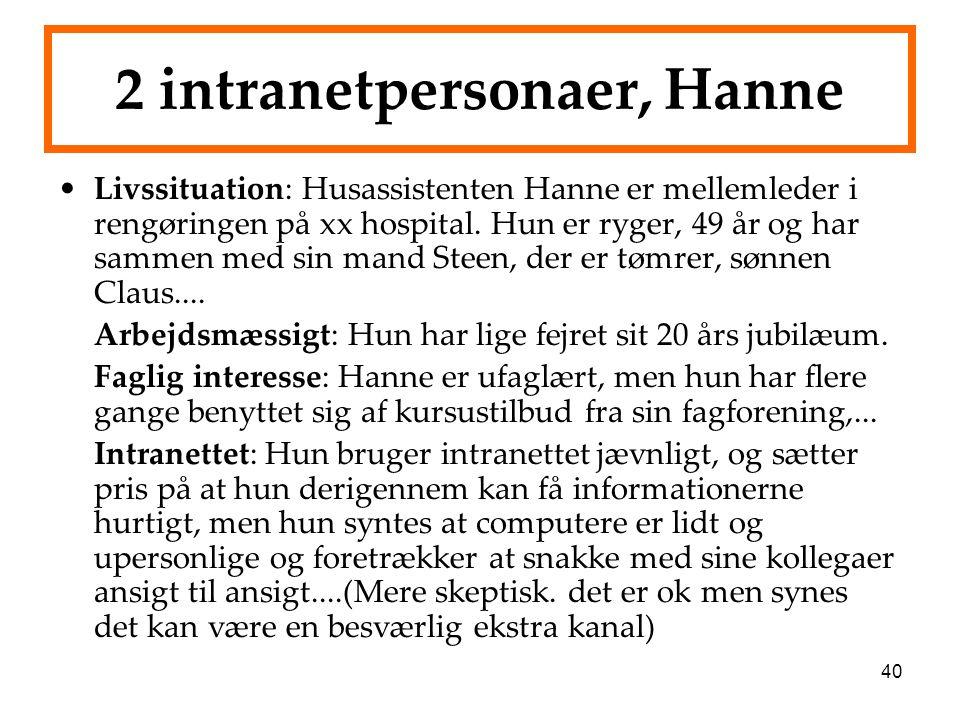 40 2 intranetpersonaer, Hanne Livssituation: Husassistenten Hanne er mellemleder i rengøringen på xx hospital. Hun er ryger, 49 år og har sammen med s