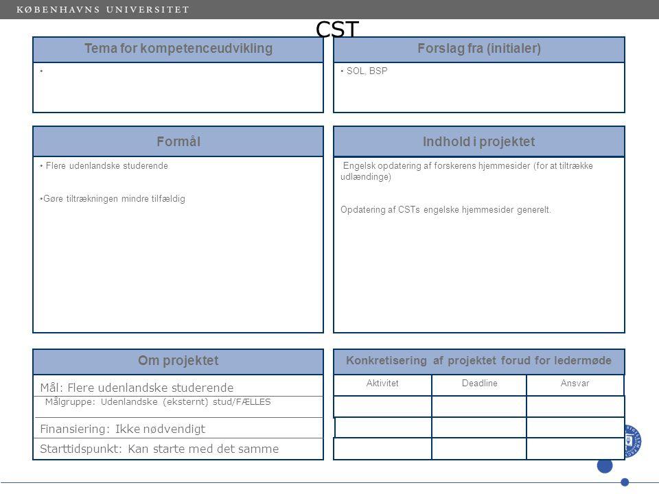 Tema for kompetenceudvikling Forslag fra (initialer) SOL, BSP Formål Flere udenlandske studerende Gøre tiltrækningen mindre tilfældig Indhold i projektet Engelsk opdatering af forskerens hjemmesider (for at tiltrække udlændinge) Opdatering af CSTs engelske hjemmesider generelt.