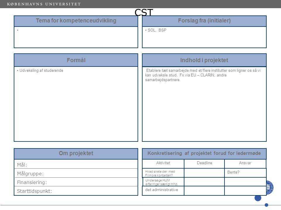 Tema for kompetenceudvikling Forslag fra (initialer) SOL, BSP Formål Udveksling af studerende Indhold i projektet Etablere tæt samarbejde med et/flere institutter som ligner os så vi kan udveksle stud.