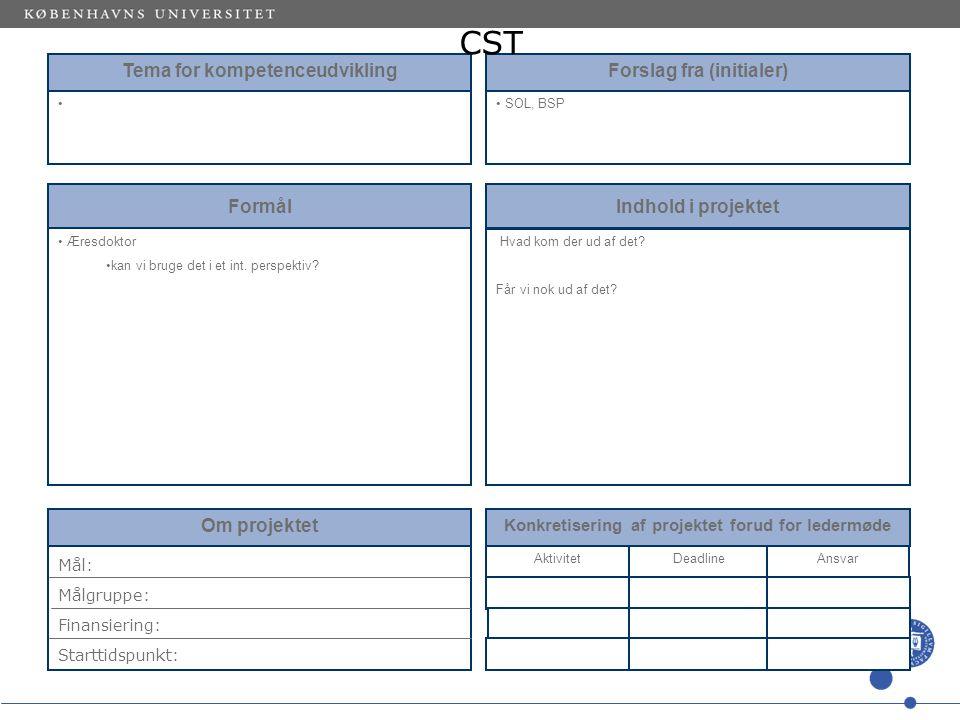 Tema for kompetenceudvikling Forslag fra (initialer) SOL, BSP Formål Æresdoktor kan vi bruge det i et int.