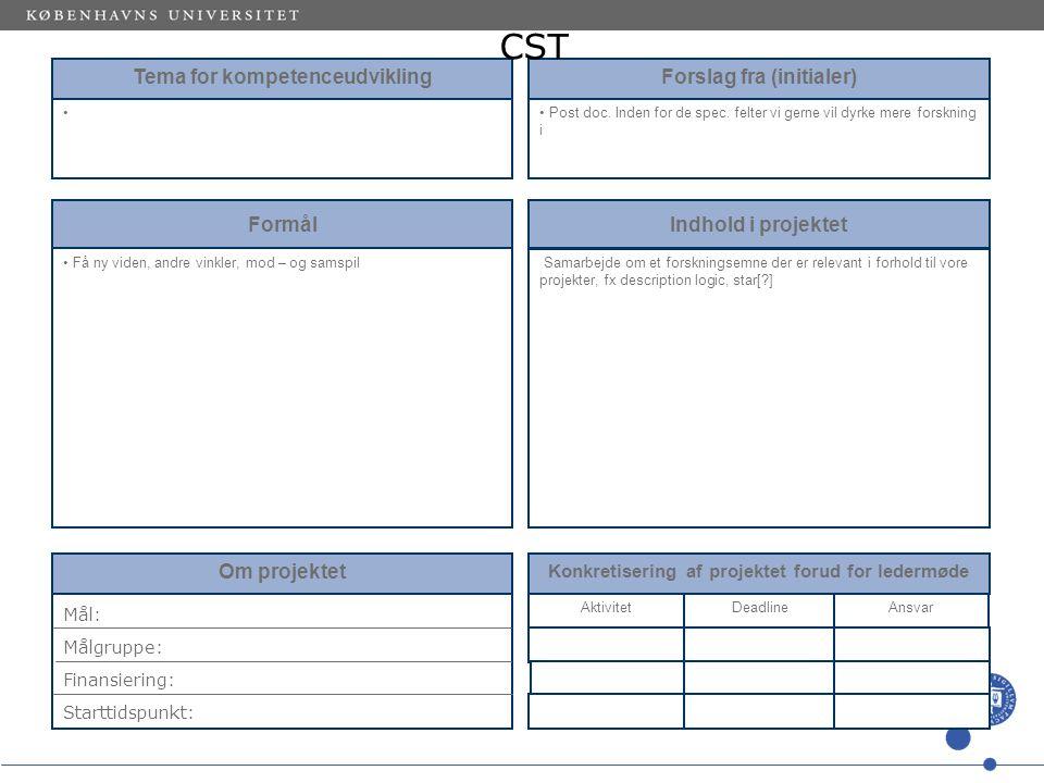 Tema for kompetenceudvikling Forslag fra (initialer) Post doc.