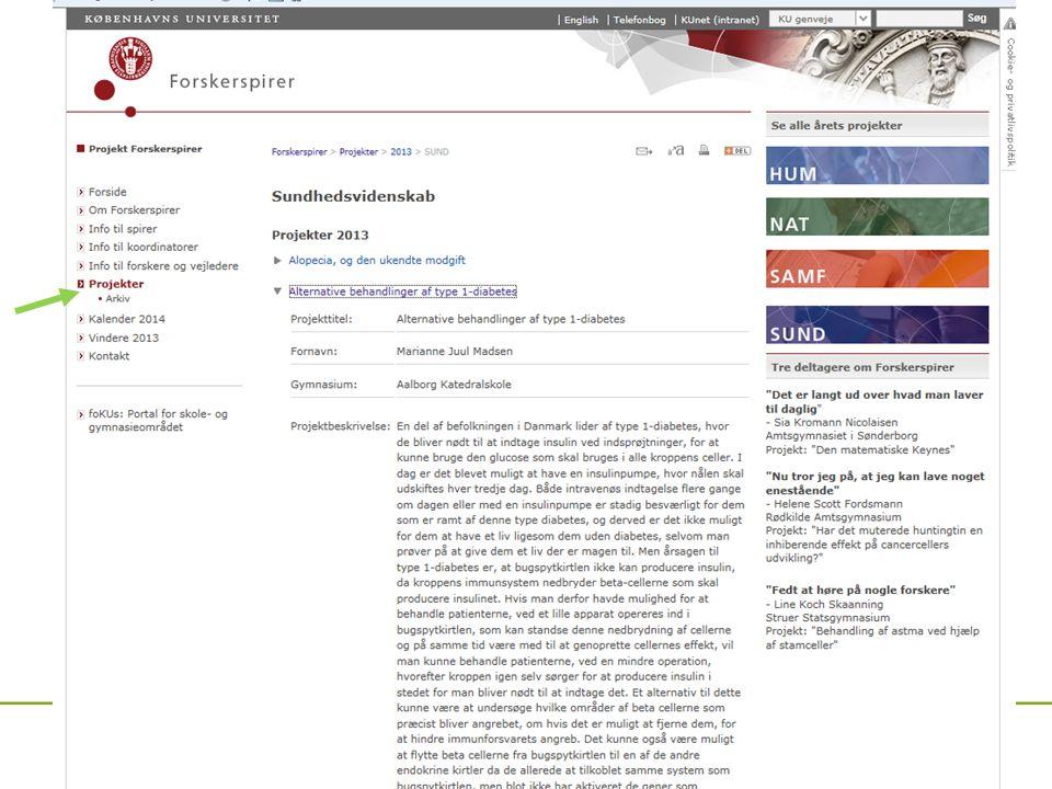 Projektbeskrivelser http://forskerspirer.ku.dk/projekter/
