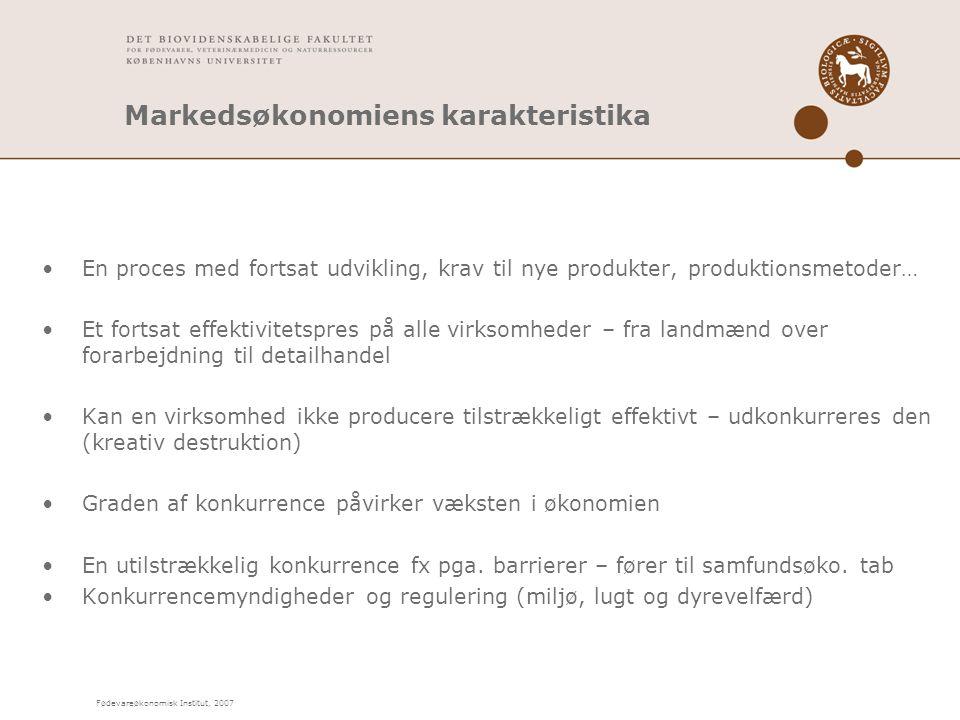 Fødevareøkonomisk Institut, 2007 Markedsøkonomiens karakteristika En proces med fortsat udvikling, krav til nye produkter, produktionsmetoder… Et fortsat effektivitetspres på alle virksomheder – fra landmænd over forarbejdning til detailhandel Kan en virksomhed ikke producere tilstrækkeligt effektivt – udkonkurreres den (kreativ destruktion) Graden af konkurrence påvirker væksten i økonomien En utilstrækkelig konkurrence fx pga.