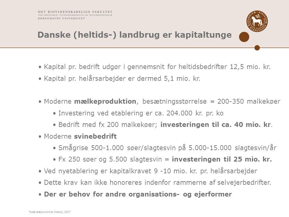 Fødevareøkonomisk Institut, 2007 Danske (heltids-) landbrug er kapitaltunge Kapital pr.