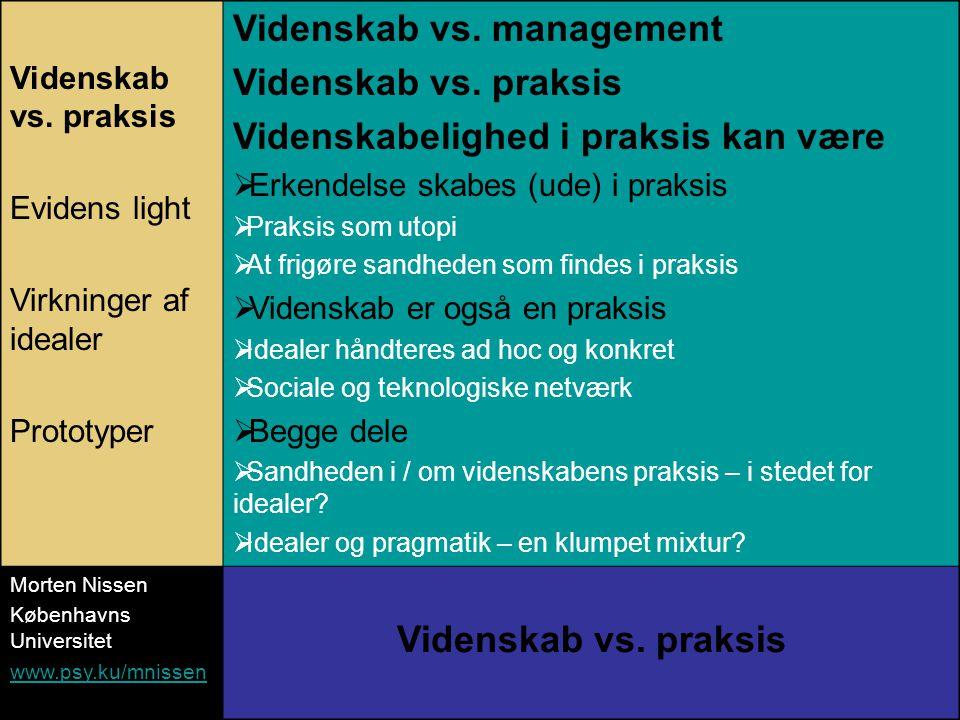 Videnskab vs. praksis Evidens light Virkninger af idealer Prototyper Videnskab vs.