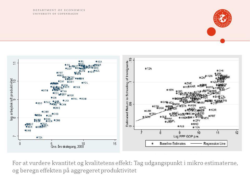 For at vurdere kvantitet og kvalitetens effekt: Tag udgangspunkt i mikro estimaterne, og beregn effekten på aggregeret produktivitet