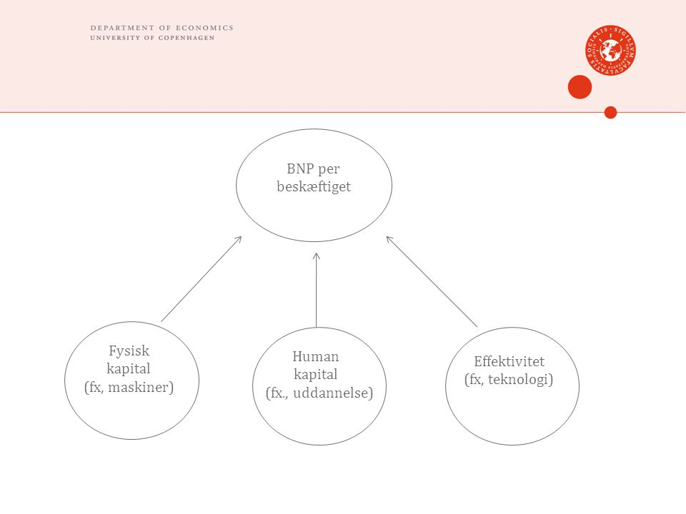 BNP per beskæftiget Fysisk kapital (fx, maskiner) Human kapital (fx., uddannelse) Effektivitet (fx, teknologi)
