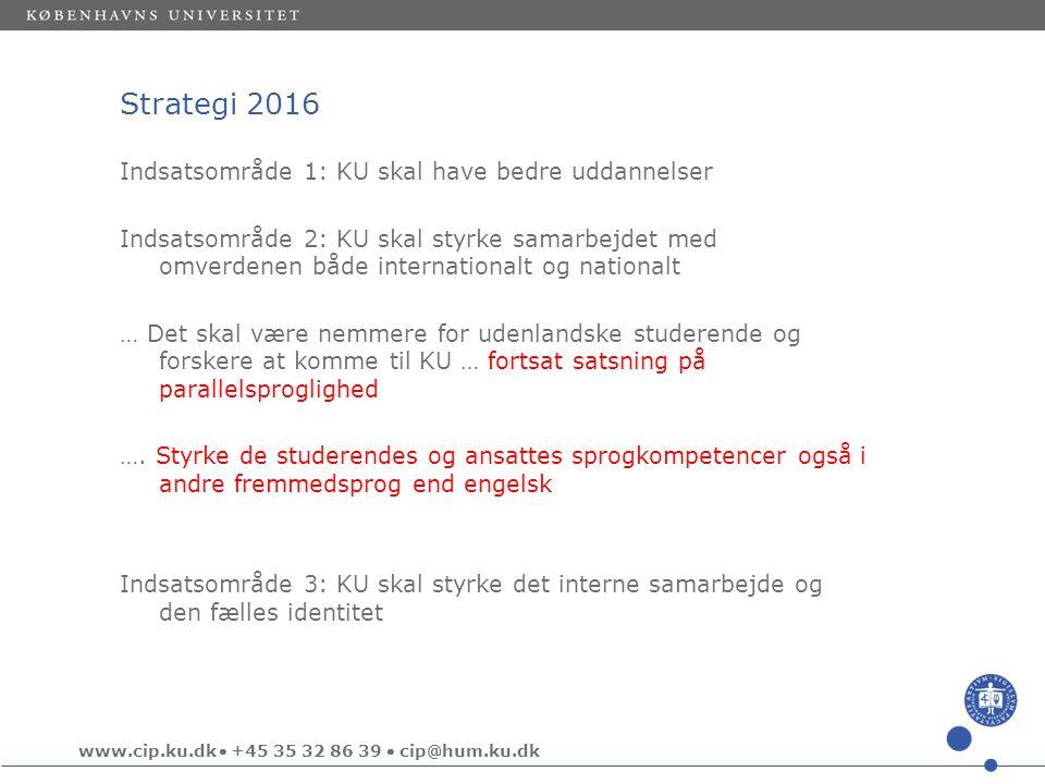 www.cip.ku.dk  +45 35 32 86 39  cip@hum.ku.dk Strategi 2016 Indsatsområde 1: KU skal have bedre uddannelser Indsatsområde 2: KU skal styrke samarbejdet med omverdenen både internationalt og nationalt … Det skal være nemmere for udenlandske studerende og forskere at komme til KU … fortsat satsning på parallelsproglighed ….