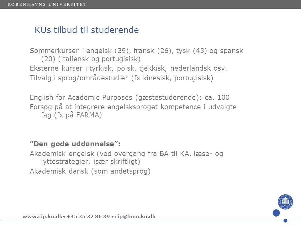 www.cip.ku.dk  +45 35 32 86 39  cip@hum.ku.dk KUs tilbud til studerende Sommerkurser i engelsk (39), fransk (26), tysk (43) og spansk (20) (italiensk og portugisisk) Eksterne kurser i tyrkisk, polsk, tjekkisk, nederlandsk osv.