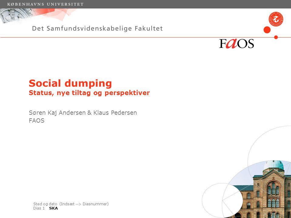 Sted og dato (Indsæt --> Diasnummer) Dias 1 Social dumping Status, nye tiltag og perspektiver Søren Kaj Andersen & Klaus Pedersen FAOS SKA