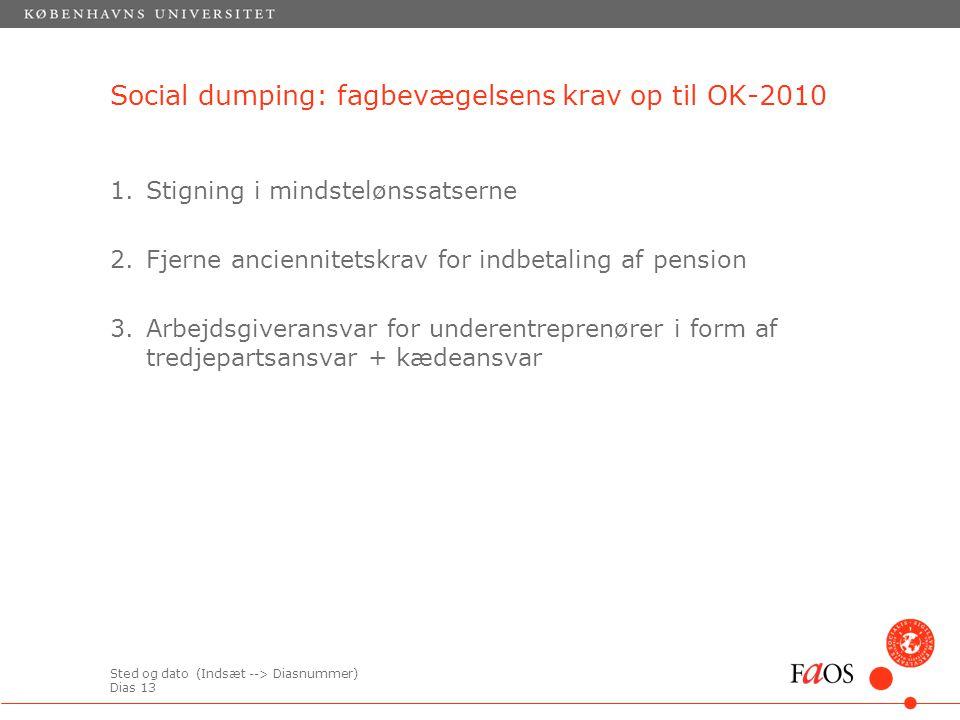 Sted og dato (Indsæt --> Diasnummer) Dias 13 1.Stigning i mindstelønssatserne 2.Fjerne anciennitetskrav for indbetaling af pension 3.Arbejdsgiveransvar for underentreprenører i form af tredjepartsansvar + kædeansvar Social dumping: fagbevægelsens krav op til OK-2010