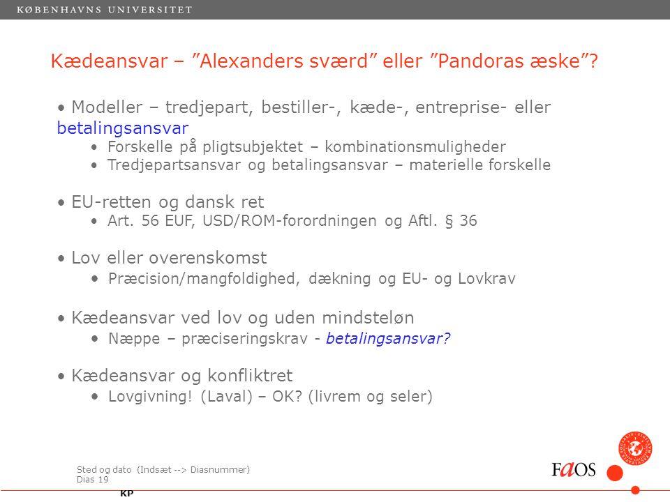 Sted og dato (Indsæt --> Diasnummer) Dias 19 Kædeansvar – Alexanders sværd eller Pandoras æske .