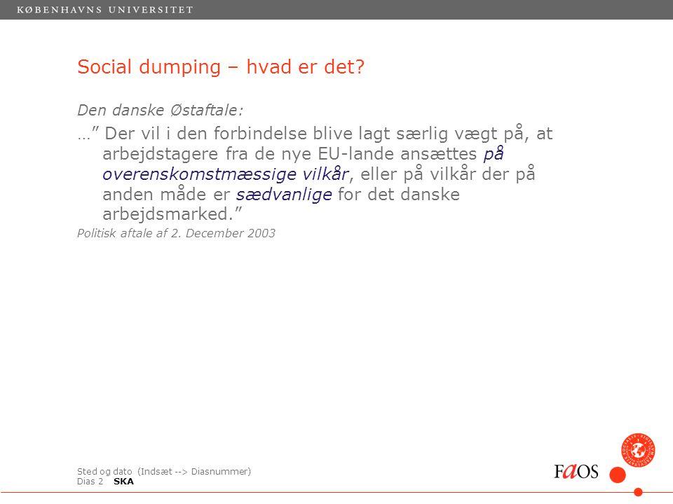 Sted og dato (Indsæt --> Diasnummer) Dias 2 Den danske Østaftale: … Der vil i den forbindelse blive lagt særlig vægt på, at arbejdstagere fra de nye EU-lande ansættes på overenskomstmæssige vilkår, eller på vilkår der på anden måde er sædvanlige for det danske arbejdsmarked. Politisk aftale af 2.