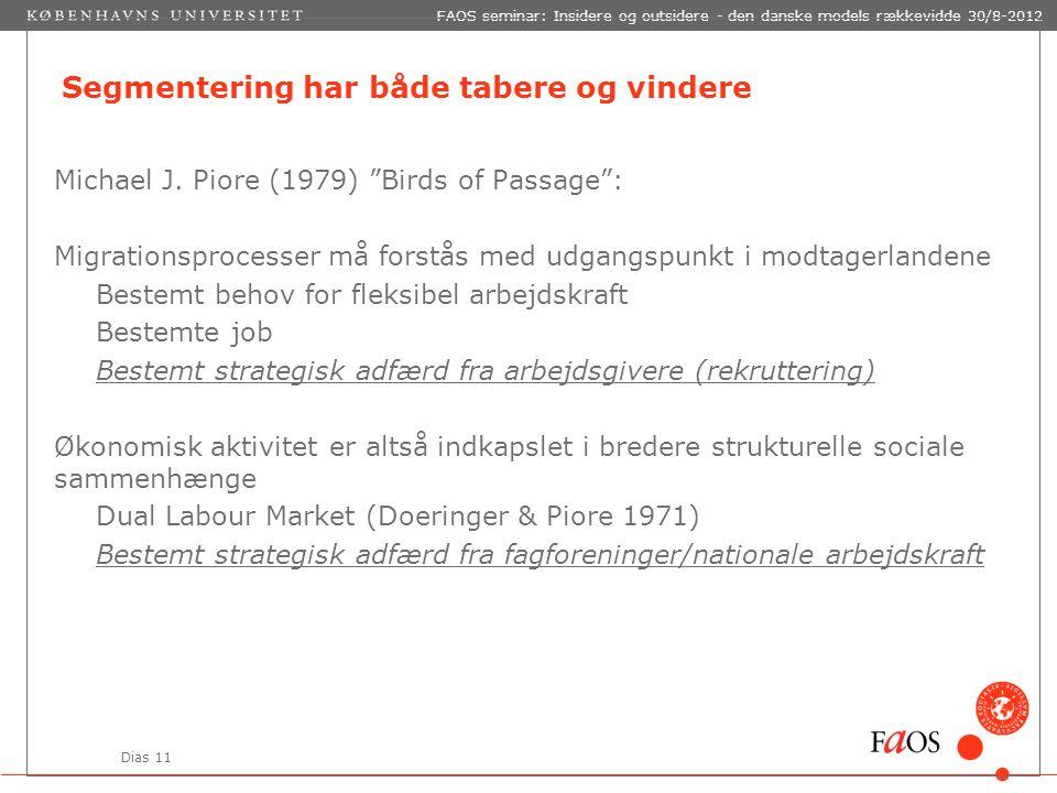 Dias 11 FAOS seminar: Insidere og outsidere - den danske models rækkevidde 30/8-2012 Segmentering har både tabere og vindere Michael J.