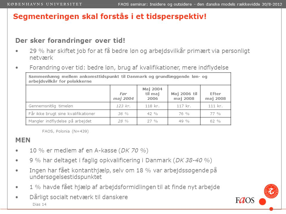 Dias 14 FAOS seminar: Insidere og outsidere - den danske models rækkevidde 30/8-2012 Segmenteringen skal forstås i et tidsperspektiv.