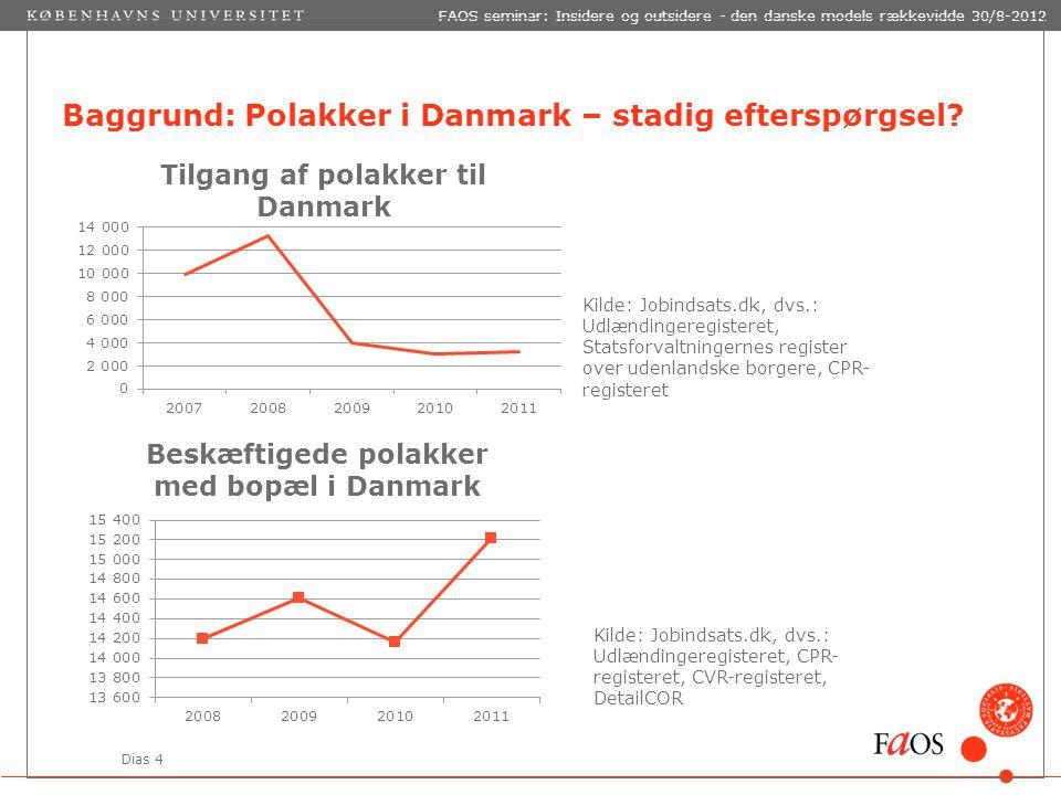 Dias 4 FAOS seminar: Insidere og outsidere - den danske models rækkevidde 30/8-2012 Baggrund: Polakker i Danmark – stadig efterspørgsel.