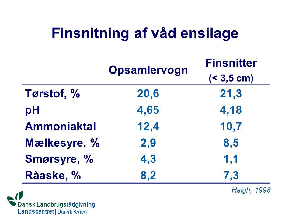Dansk Landbrugsrådgivning Landscentret   Dansk Kvæg S:\SUNDFODE\HBB\PowerPoint\Grovfoderseminar 2005.ppt Finsnitning af våd ensilage Opsamlervogn Finsnitter (< 3,5 cm) Tørstof, % pH Ammoniaktal Mælkesyre, % Smørsyre, % Råaske, % 20,6 4,65 12,4 2,9 4,3 8,2 21,3 4,18 10,7 8,5 1,1 7,3 Haigh, 1998