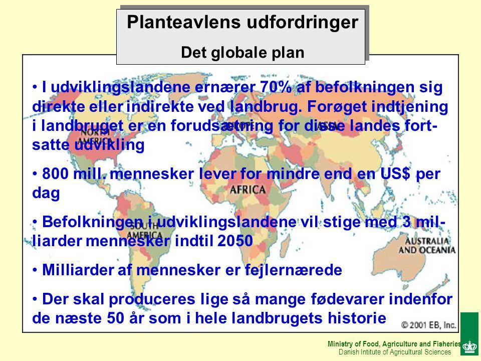 Ministry of Food, Agriculture and Fisheries Danish Intitute of Agricultural Sciences Planteavlens udfordringer Det globale plan I udviklingslandene ernærer 70% af befolkningen sig direkte eller indirekte ved landbrug.