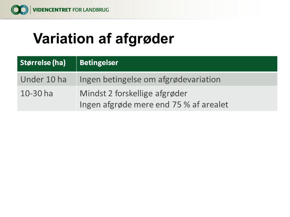 Størrelse (ha)Betingelser Under 10 haIngen betingelse om afgrødevariation 10-30 haMindst 2 forskellige afgrøder Ingen afgrøde mere end 75 % af arealet Variation af afgrøder