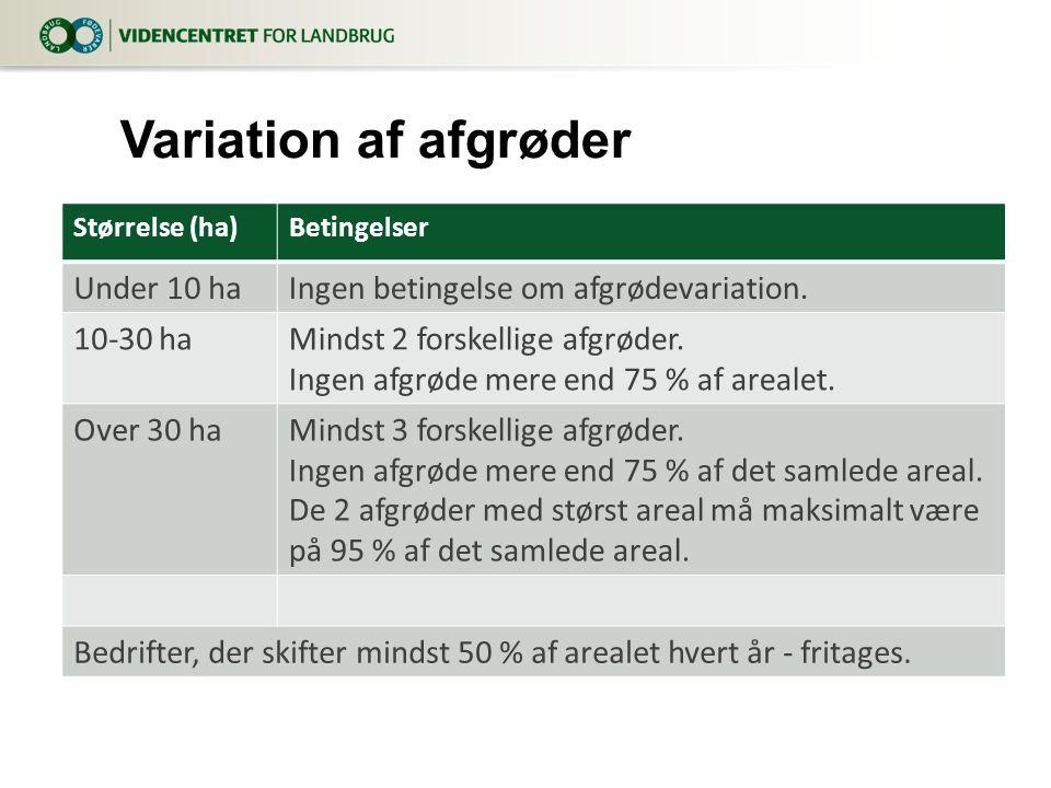Størrelse (ha)Betingelser Under 10 haIngen betingelse om afgrødevariation.