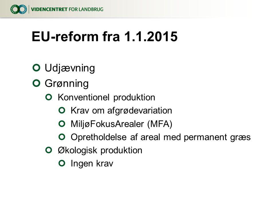 Udjævning Grønning Konventionel produktion Krav om afgrødevariation MiljøFokusArealer (MFA) Opretholdelse af areal med permanent græs Økologisk produktion Ingen krav EU-reform fra 1.1.2015