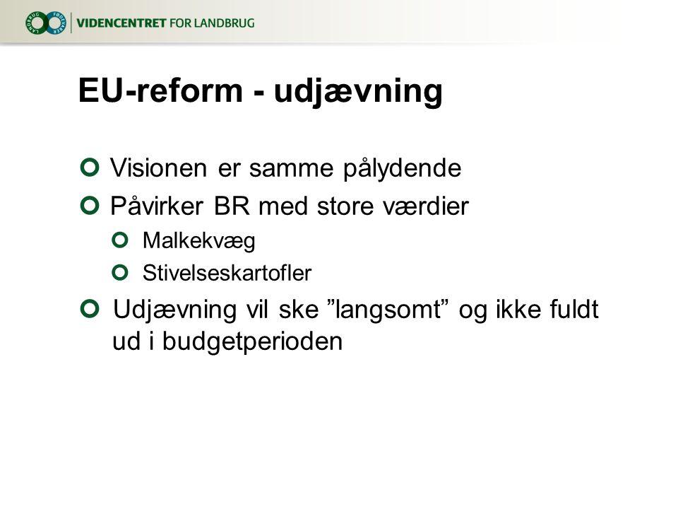 Visionen er samme pålydende Påvirker BR med store værdier Malkekvæg Stivelseskartofler Udjævning vil ske langsomt og ikke fuldt ud i budgetperioden EU-reform - udjævning