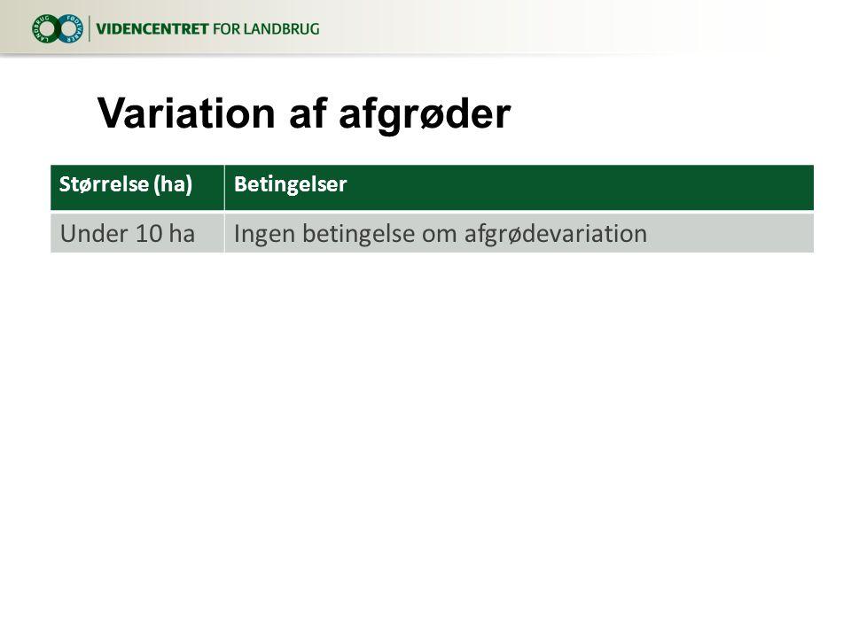 Størrelse (ha)Betingelser Under 10 haIngen betingelse om afgrødevariation Variation af afgrøder