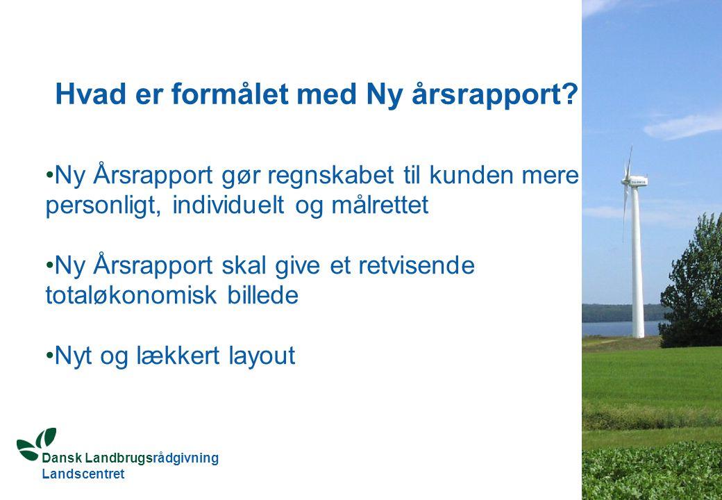 Dansk Landbrugsrådgivning Landscentret Hvad er formålet med Ny årsrapport.
