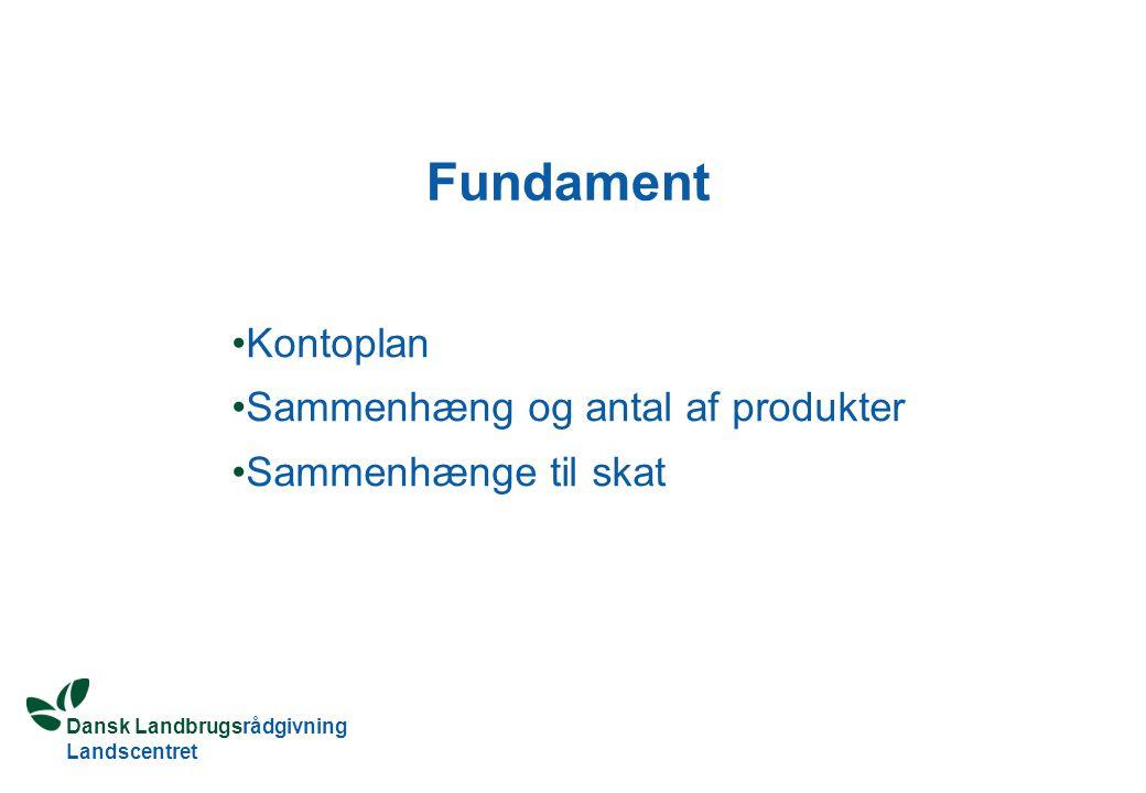 Dansk Landbrugsrådgivning Landscentret Fundament Kontoplan Sammenhæng og antal af produkter Sammenhænge til skat