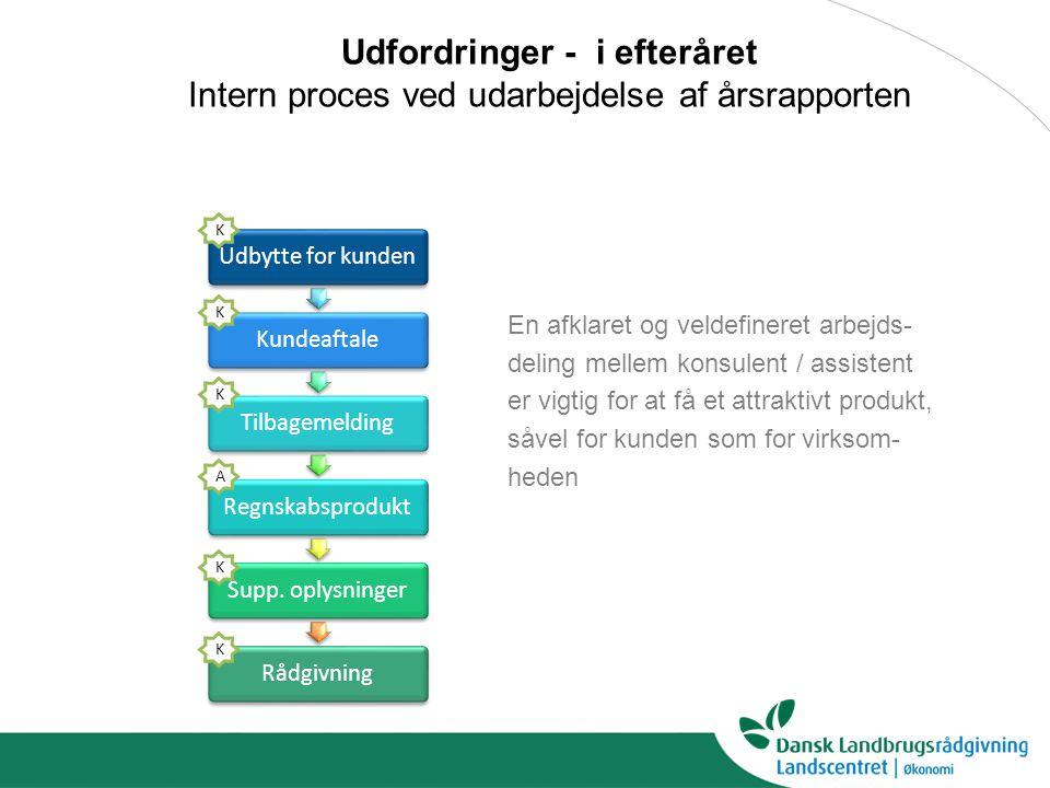 Udfordringer - i efteråret Intern proces ved udarbejdelse af årsrapporten Udbytte for kundenKundeaftaleTilbagemeldingRegnskabsproduktSupp.