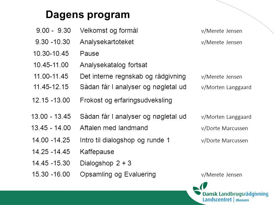 9.00 - 9.30Velkomst og formål v/Merete Jensen 9.30 -10.30Analysekartoteket v/Merete Jensen 10.30-10.45Pause 10.45-11.00Analysekatalog fortsat 11.00-11.45Det interne regnskab og rådgivning v/Merete Jensen 11.45-12.15 Sådan får I analyser og nøgletal ud v/Morten Langgaard 12.15 -13.00 Frokost og erfaringsudveksling 13.00 - 13.45Sådan får I analyser og nøgletal ud v/Morten Langgaard 13.45 - 14.00Aftalen med landmand v/Dorte Marcussen 14.00 -14.25Intro til dialogshop og runde 1 v/Dorte Marcussen 14.25 -14.45Kaffepause 14.45 -15.30Dialogshop 2 + 3 15.30 -16.00Opsamling og Evaluering v/Merete Jensen Dagens program